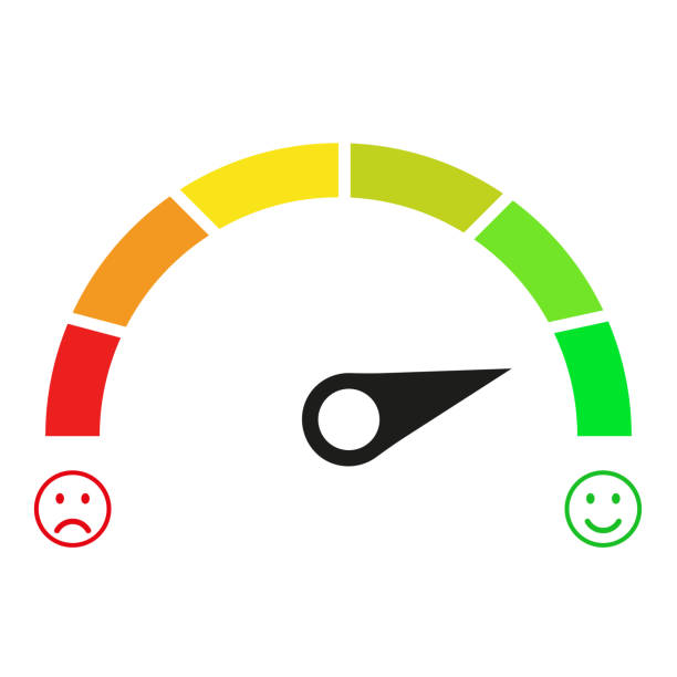 Speedometer icon. Good and bad vector. green to red color. vector icon illustration Speedometer icon. Good and bad vector. green to red color. vector icon illustration meter instrument of measurement stock illustrations