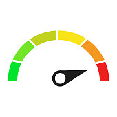 Speedometer icon. Good and bad vector. green to red color. vector icon illustration