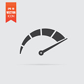 istock Speedometer icon in flat style isolated on grey background. 952011128
