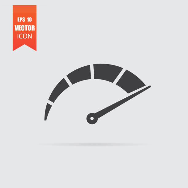 Speedometer icon in flat style isolated on grey background. Speedometer icon in flat style isolated on grey background. For your design, logo. Vector illustration. meter instrument of measurement stock illustrations