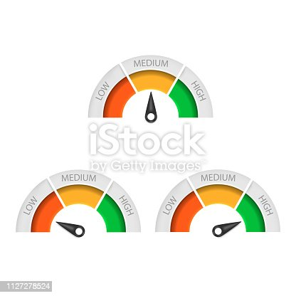 istock Speedometer icon isolated on white background. Vector illustration. 1127278524