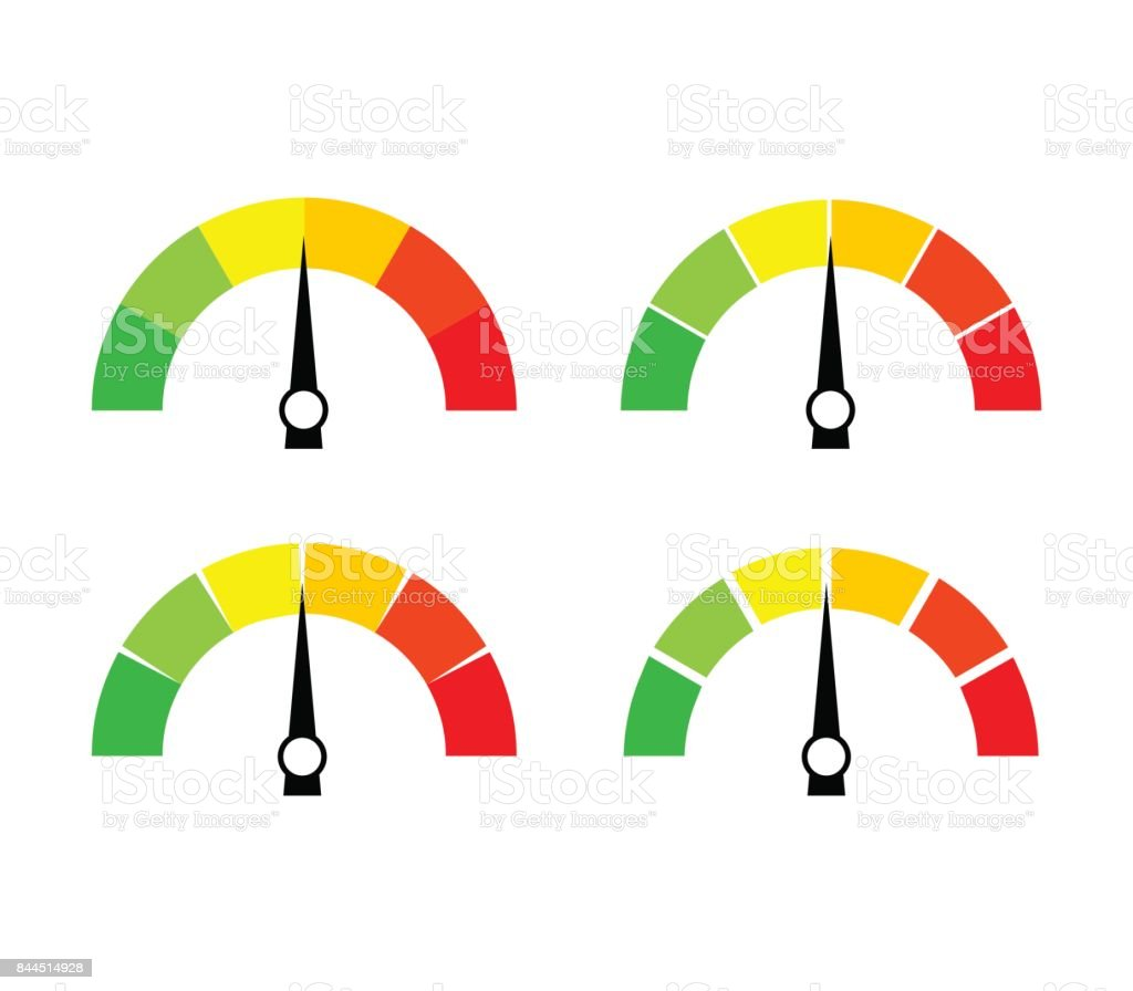 Speedometer icon or sign with arrow. Collection of colorful Infographic gauge element. vector art illustration