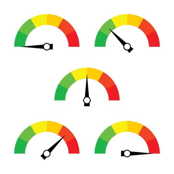 bildbanksillustrationer, clip art samt tecknat material och ikoner med hastighetsmätare-ikonen eller tecknet med pil. samling av färgglada infographic gauge element. - barometer