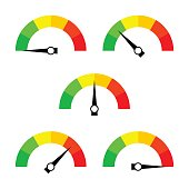 Speedometer icon or sign with arrow. Collection of colorful Infographic gauge element.