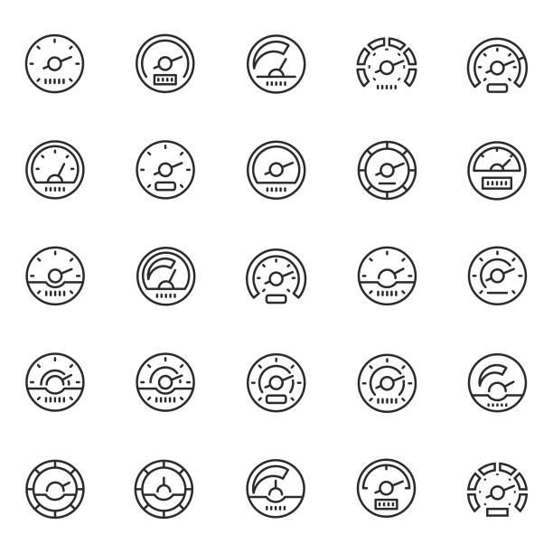 ilustraciones, imágenes clip art, dibujos animados e iconos de stock de conjunto de iconos del velocímetro - amperímetro