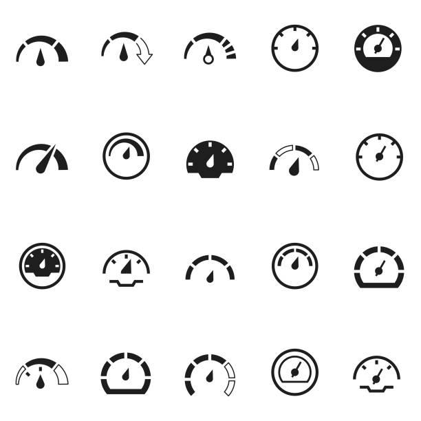 bildbanksillustrationer, clip art samt tecknat material och ikoner med hastighetsmätare ikonuppsättning - barometer