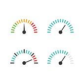 Speedometer icon set vector illustration, speed control measure element