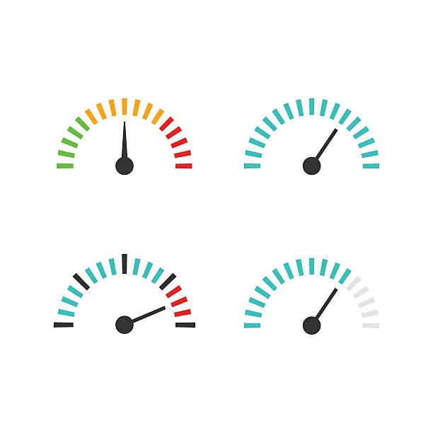 tachometer symbol-set vektor-illustration,-kontrollmaßnahme element - nummernscheibe stock-grafiken, -clipart, -cartoons und -symbole