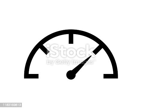 istock Speedometer icon vector isolated design element. Speed indicator sign. Internet speed. Car speedometer icon. Fast speed sign logo. 1183169813