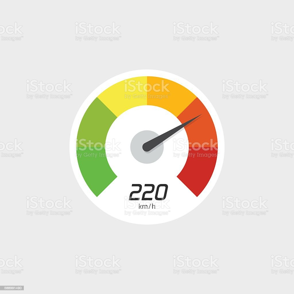 Speedometer icon vector isolated with speed indicator vector art illustration