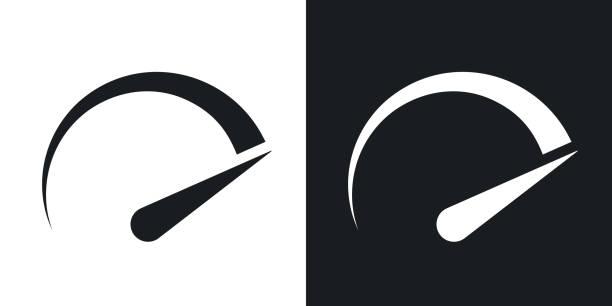 Speedometer icon, vector. Two-tone version Speedometer icon, vector. Two-tone version on black and white background speedometer stock illustrations
