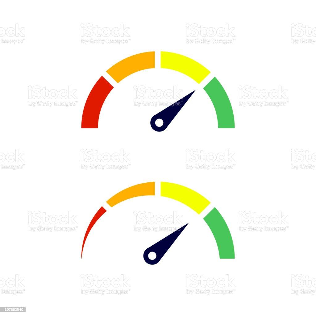 speedometer icon with arrow colorful infographic gauge element rh istockphoto com speedometer vector icon speedometer vector free