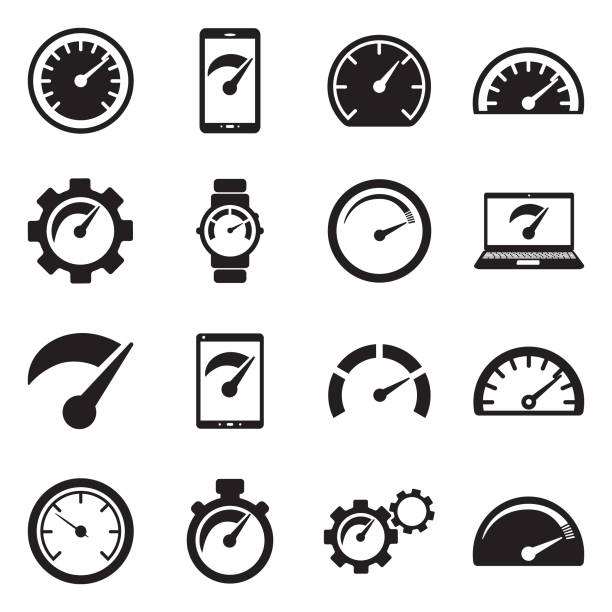 Speedometer Icons. Black Flat Design. Vector Illustration. Speed, Meter, Gauge, Acceleration performance stock illustrations