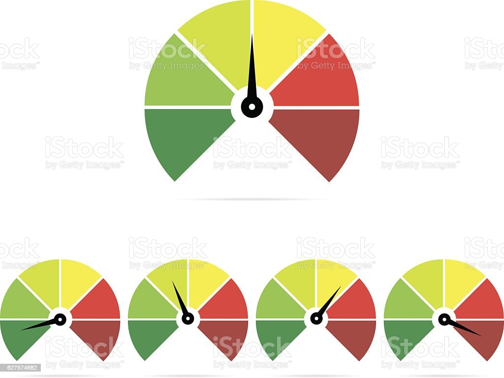 Speedometer icons, easy, normal, medium, hard vector art illustration