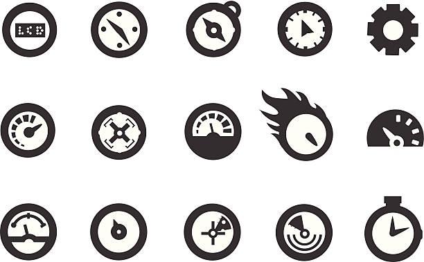 prędkościomierz ikony - oś czasu pomoc wizualna stock illustrations
