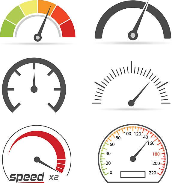 Speedometer icons Speedometer icons gauge stock illustrations
