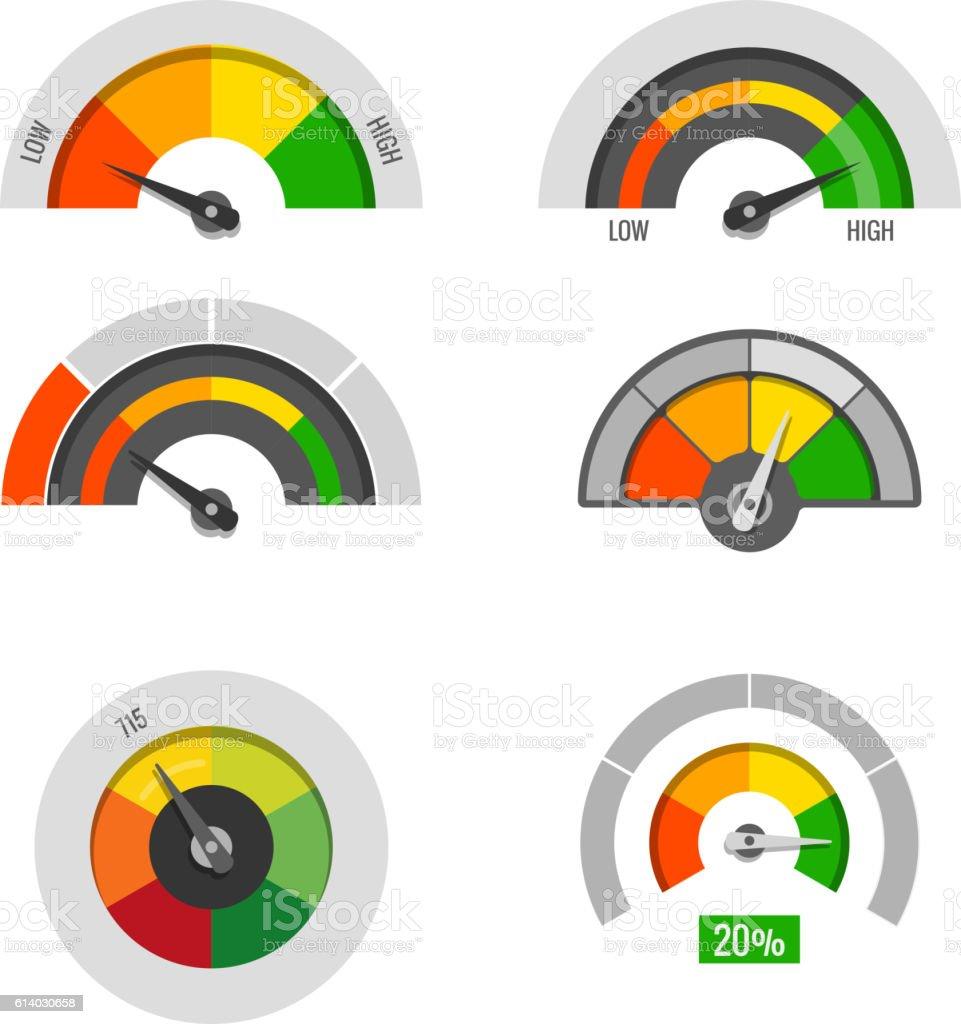 Speedometer indicators gauges low, moderate and high measurement levels vector vector art illustration