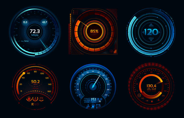 Speedometer indicators. Power meters, fast or slow internet connection speed meter stages vector concept Speedometer indicators. Power meters, fast or slow internet connection speed meter stages. Automobile digital odometer indicator display technology for racing game vector isolated icons concept set dial stock illustrations