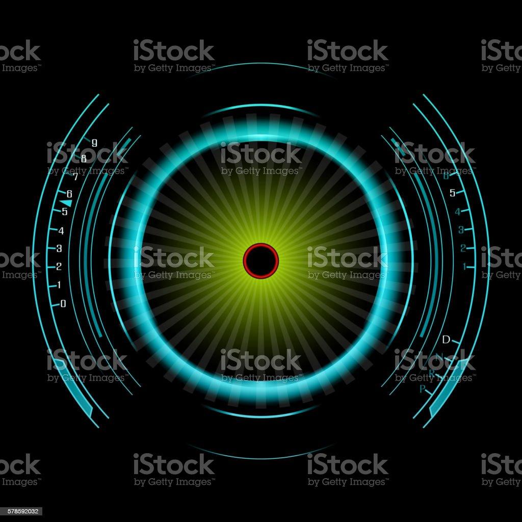 Speedometer isolated on black vector art illustration