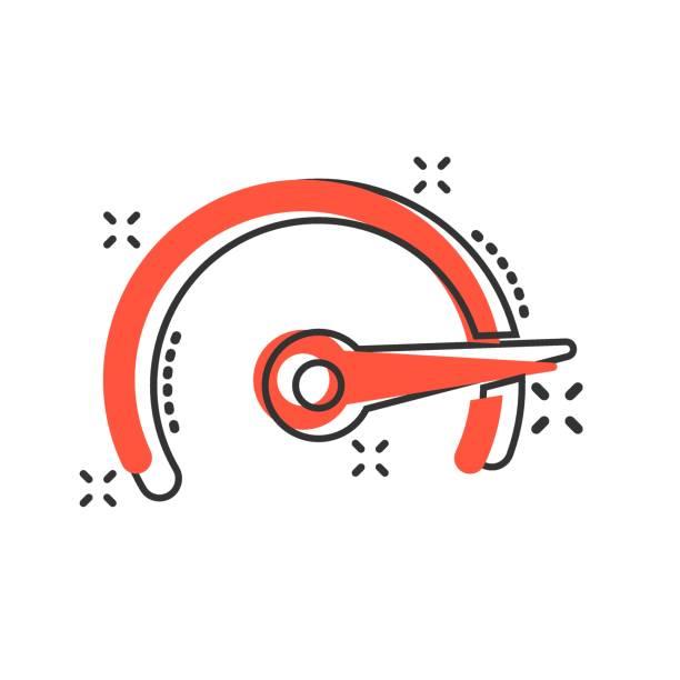 tacho ebene zeichen symbol im comic-stil. beschleunigen sie vektor-cartoon-illustration auf weißem isolierten hintergrund. motion tachometer business concept splash-effekt. - splash grafiken stock-grafiken, -clipart, -cartoons und -symbole