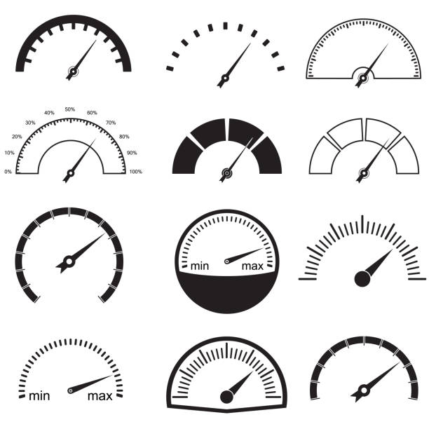 illustrazioni stock, clip art, cartoni animati e icone di tendenza di speedometer or gauge icons set. infographic and car instrument design elements. vector illustration. - misuratore