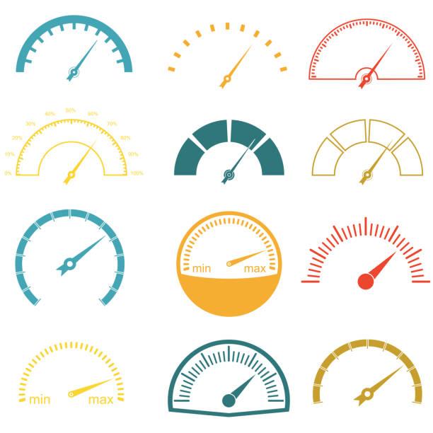 bildbanksillustrationer, clip art samt tecknat material och ikoner med hastighetsmätaren eller mätare ikoner set isolerad på vit bakgrund. infografik och bil instrument designelement. färgglada vektorillustration. - barometer