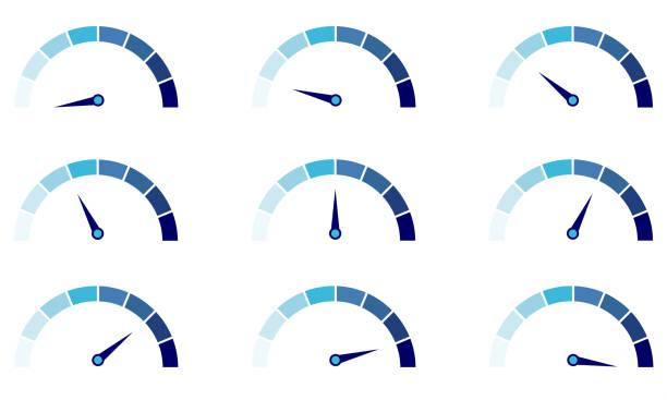 tacho oder bewertung meter zeichen infografik gauge-element. - nummernscheibe stock-grafiken, -clipart, -cartoons und -symbole