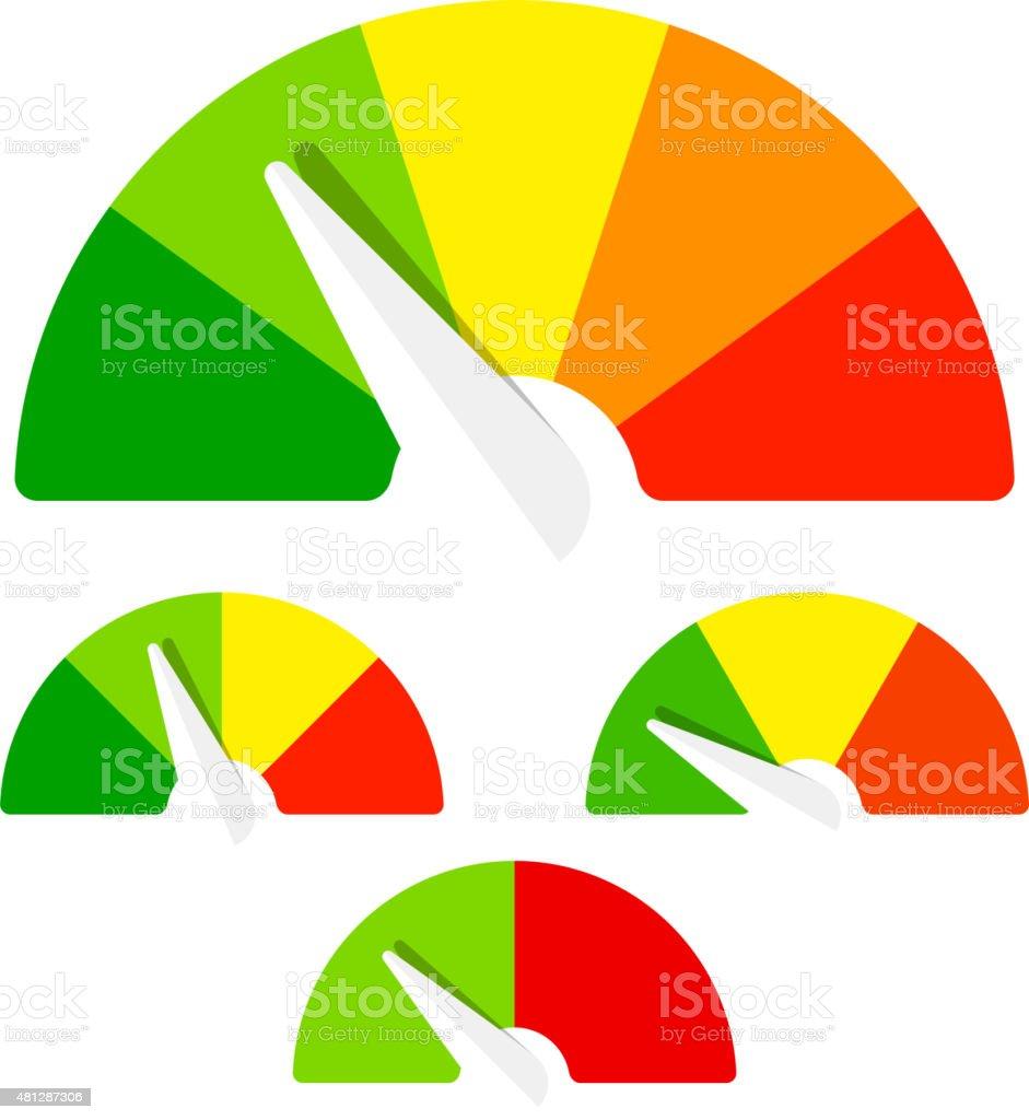 Speedometer or rating meter signs vector art illustration