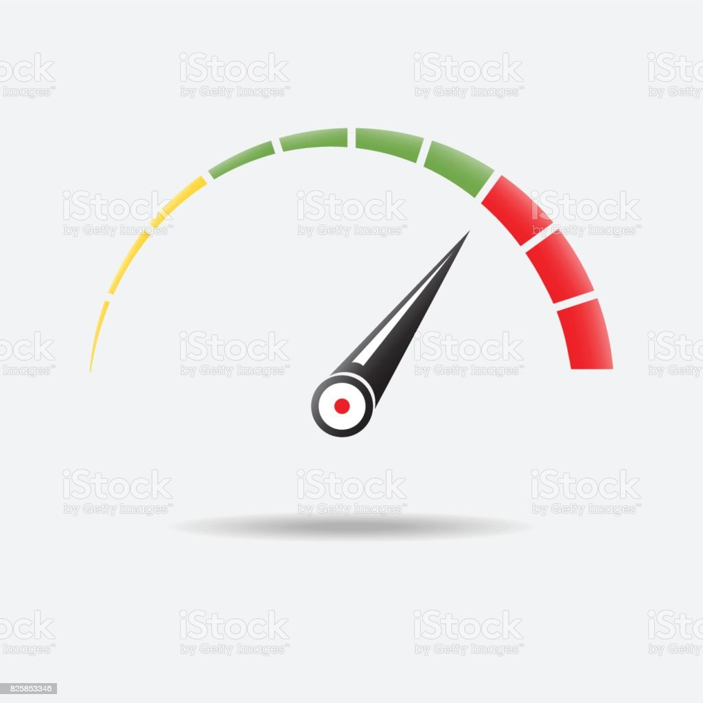 Speedometer or tachometer with arrow. Infographic gauge element. Template for download design. Colorful vector illustration in flat style. vector art illustration