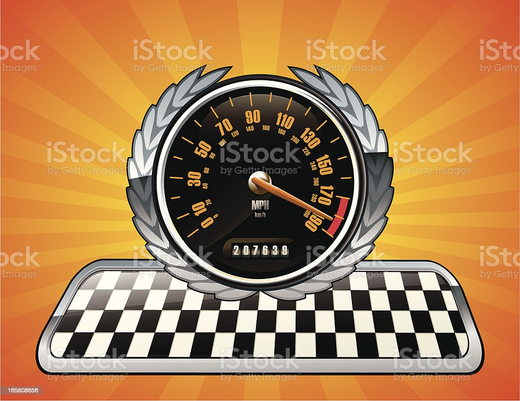Speedometer Racing Emblem royalty-free stock vector art