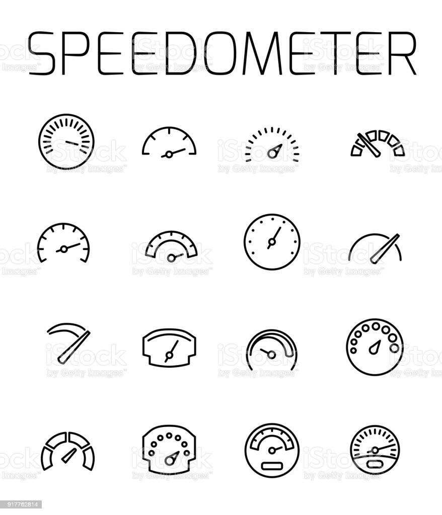 Speedometer related vector icon set.