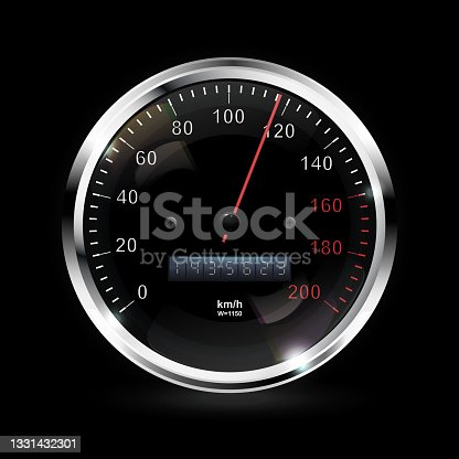 istock Speedometer. Round black caliber with chrome bezel. Vector 3d illustration 1331432301