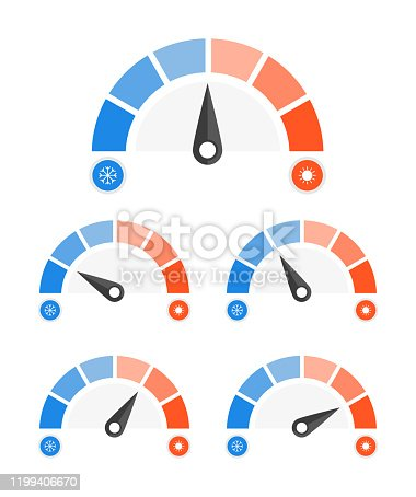 Speedometer set cold and hot icon. Vector illustration.
