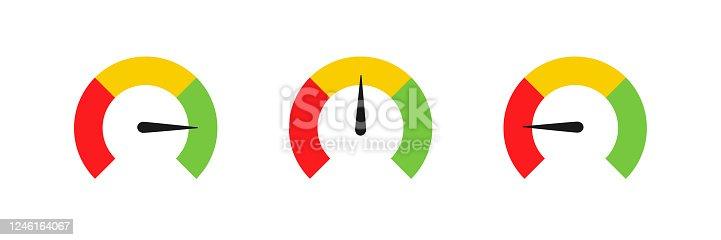 Speedometer set icon color chart. Vector illustration flat design