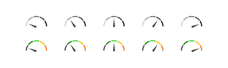 Speedometer simple icon set in color and black. Indicator concept in vector flat style.