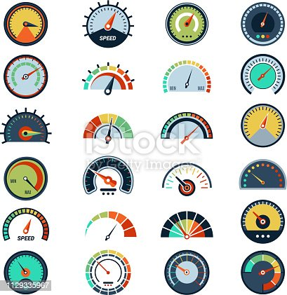 Speedometer symbols. Level fuel rating indication score graph guage vector pictures set. Illustration of indicator fuel, rating level meter