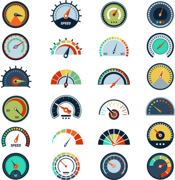Speedometer symbols. Level fuel rating indication score graph guage vector pictures set Speedometer symbols. Level fuel rating indication score graph guage vector pictures set. Illustration of indicator fuel, rating level meter meter instrument of measurement stock illustrations