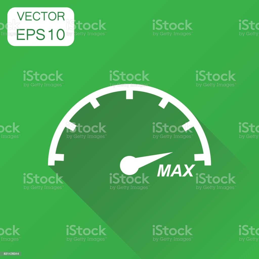 Speedometer, tachomete icon. Business concept max speed pictogram. Vector illustration on green background with long shadow.