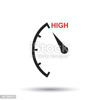 Speedometer, tachometer, fuel high level icon. Flat vector illustration on white background