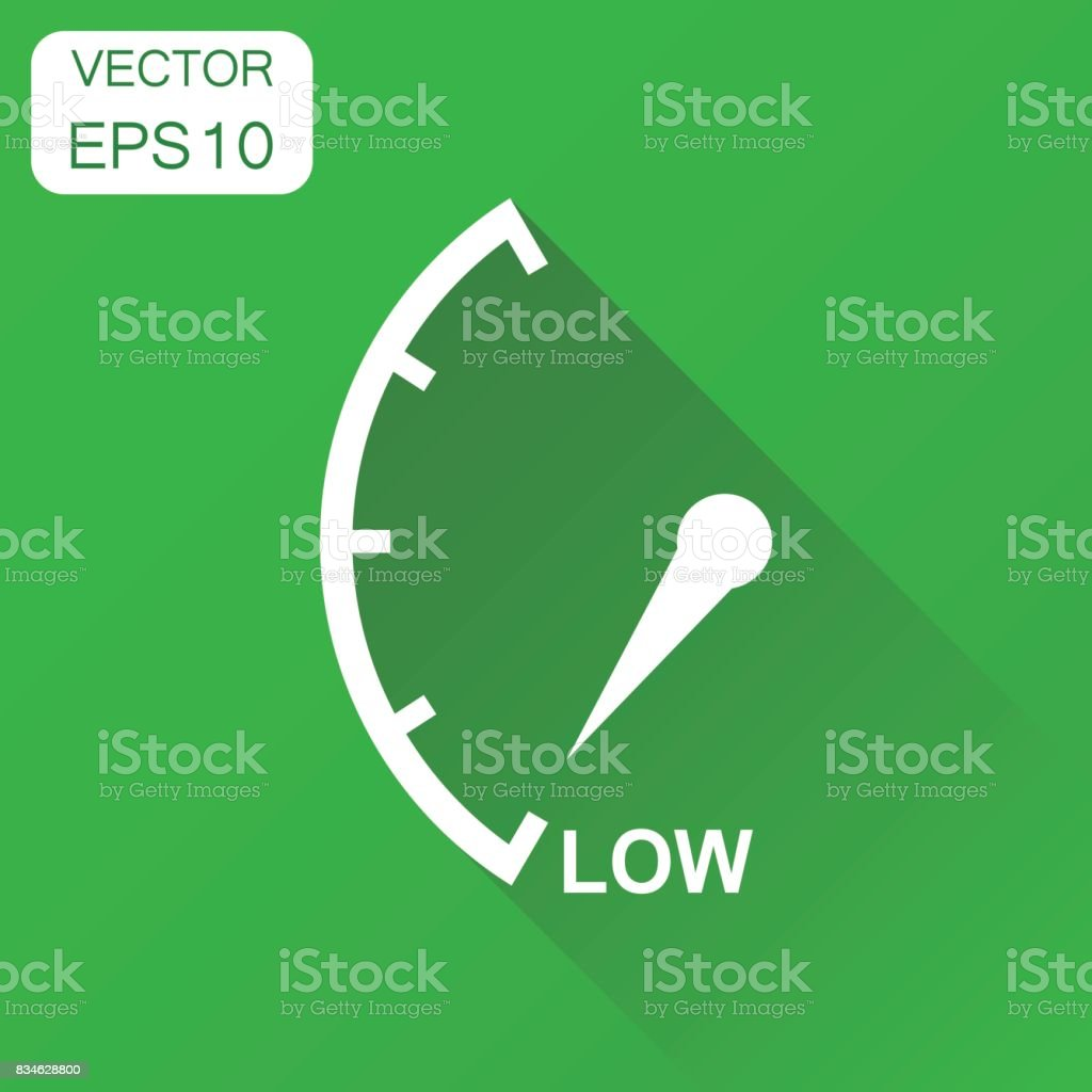Speedometer, tachometer, fuel low level icon Business concept low level rating pictogram. Vector illustration on green background with long shadow. vector art illustration