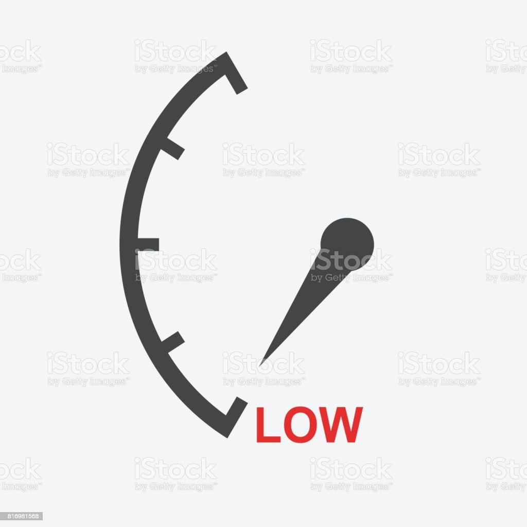Speedometer, tachometer, fuel low level icon. Flat vector illustration on white background vector art illustration