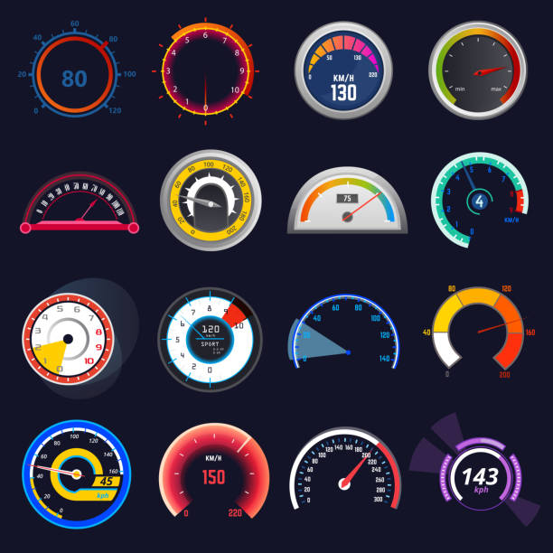 illustrazioni stock, clip art, cartoni animati e icone di tendenza di speedometer vector car speed dashboard panel and speed-up power measurement illustration set of speed-limit control technology gauge with arrow or pointer isolated on background - misuratore