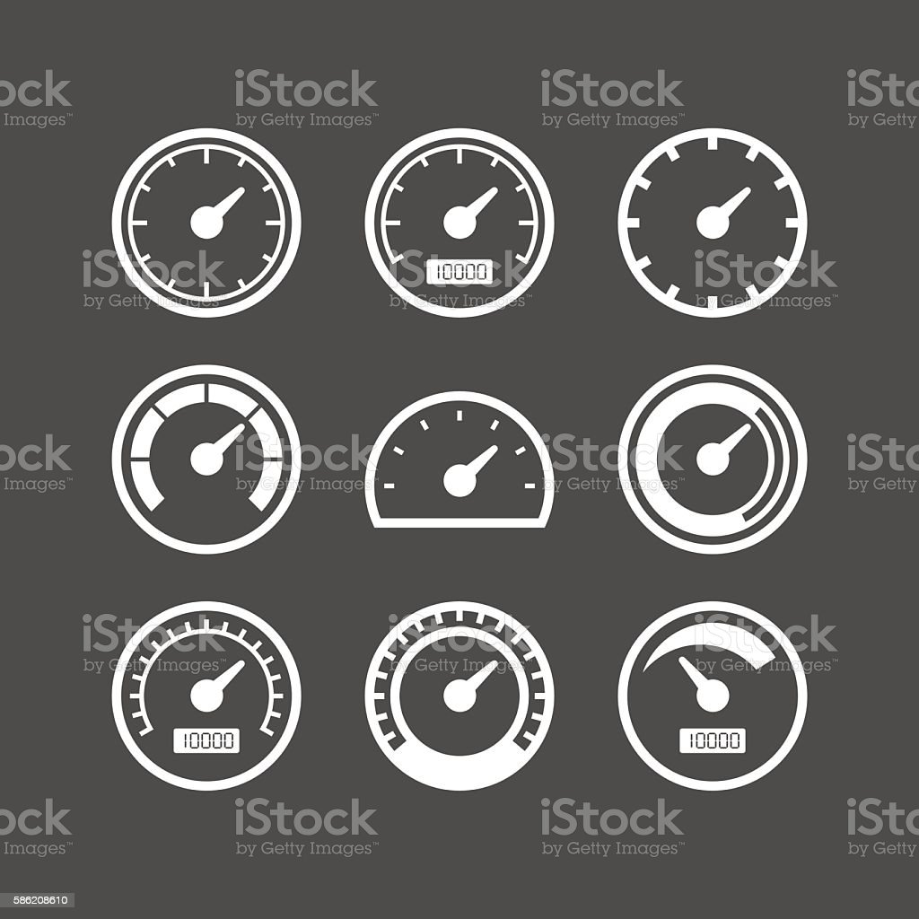 Speedometer vector icon set vector art illustration