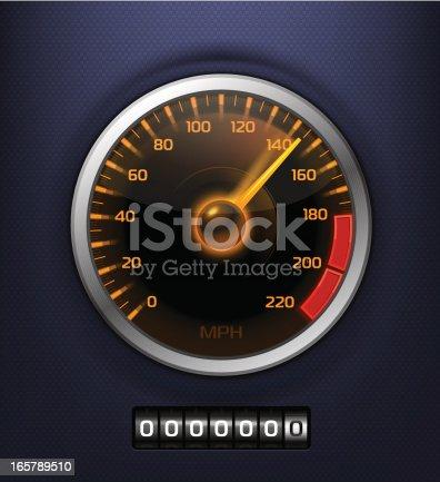 Vector speedometer on textured background.