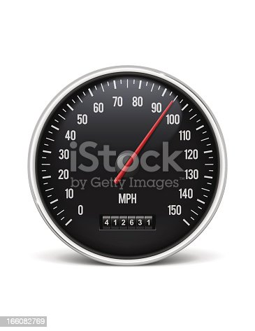 Speedometer. Alternative version with km/h included. Jpeg without shadow also included. EPS 10 Illustration. Transparency and transparency effects used. Global Colors
