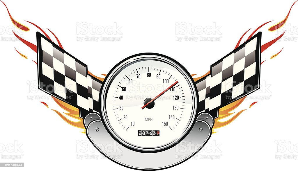 Speedometer with Flaming Checkered Flags royalty-free stock vector art