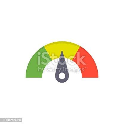 istock Speedometer with three color levels 1268258029