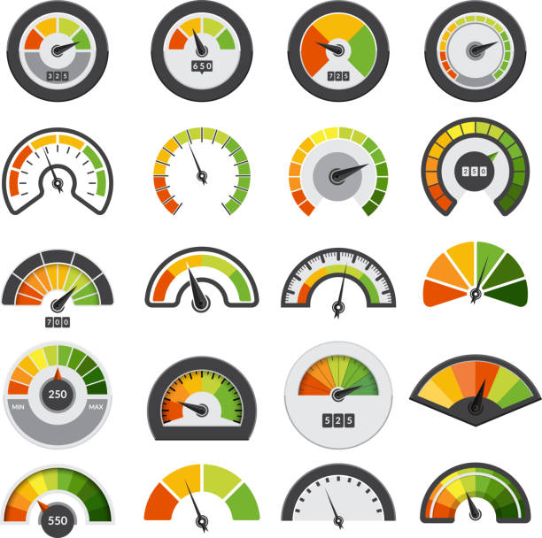 bildbanksillustrationer, clip art samt tecknat material och ikoner med speedometers-kollektionen. symboler för hastighetspoäng mätning varvräknare nivå index vektor samling - barometer
