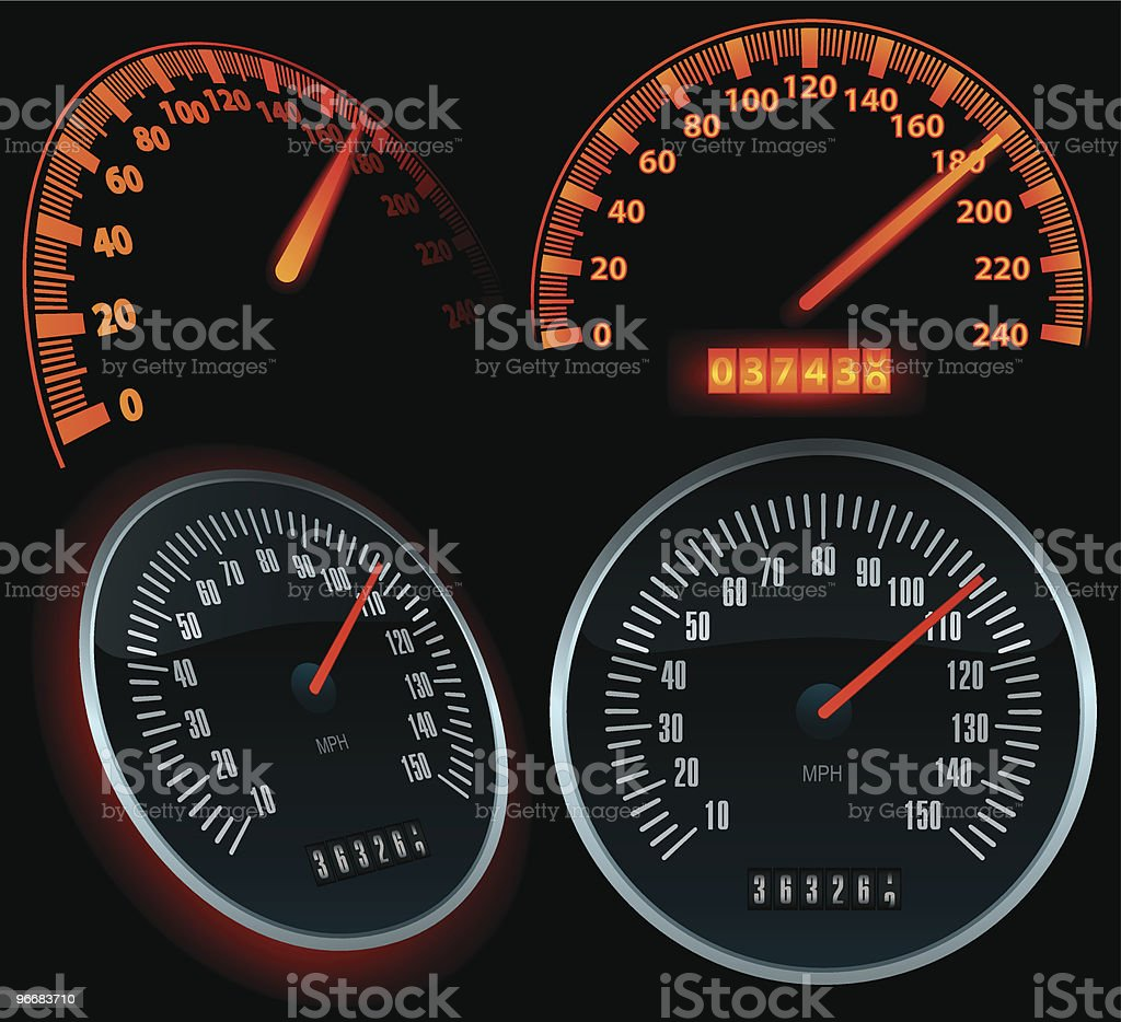 Speedometers set in black background vector art illustration