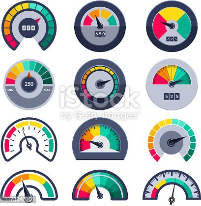 Speedometers symbols. Indicate level score meter indices measure vector templates. Illustration meter and level, gauge dial arrow